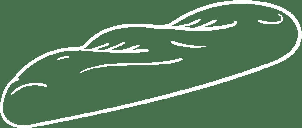 Baguette Zeichnung weiß